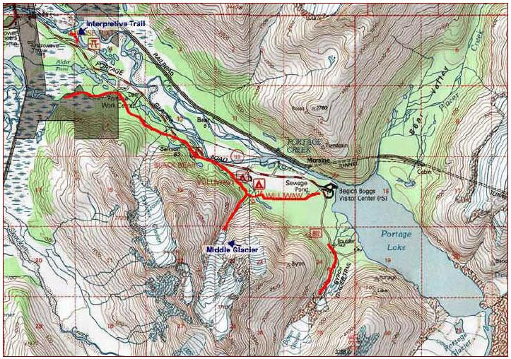 Portage Glacier Map