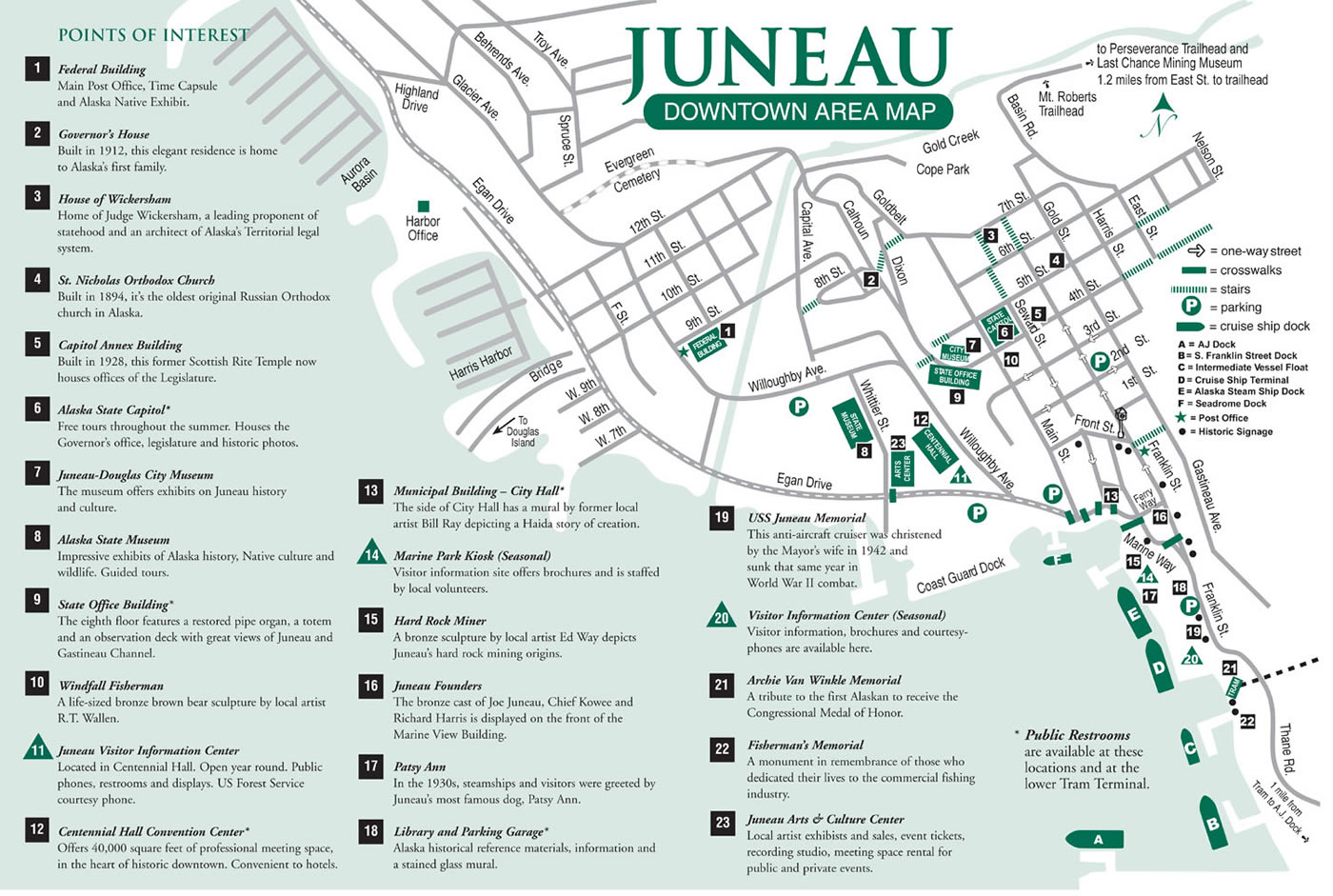 Map Of Juneau Alaska Juneau Downtown Area Map Map Of Juneau Alaska
