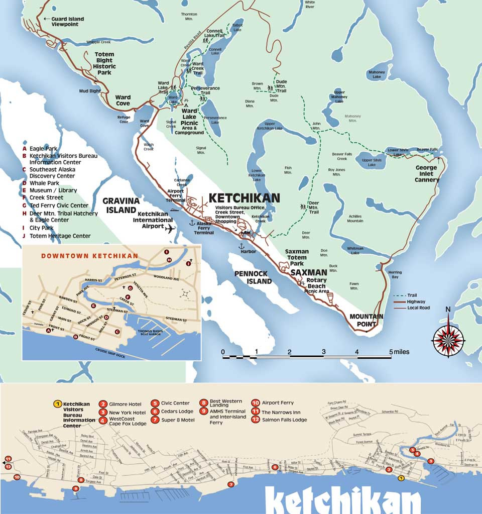 Ketchikan Alaska Area Map on