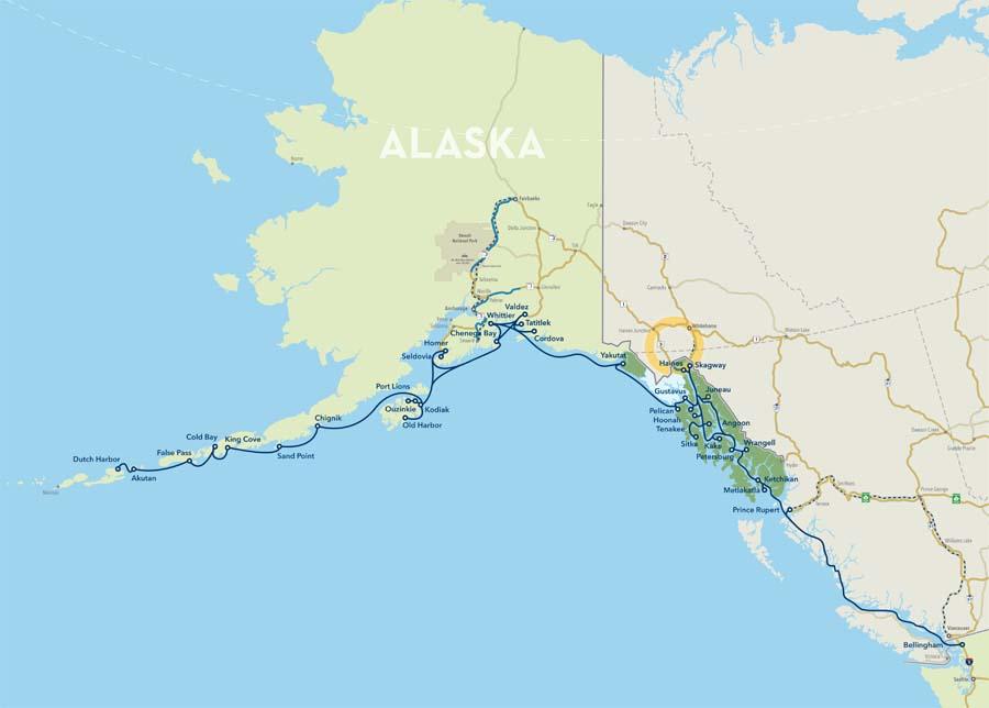 Map Of Alaska Highway System.Alaska Marine Highway Ferry Maps
