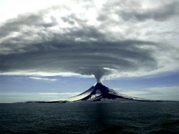 Augustine Volcano during its 2005-2006 eruption.  Cyrus Read, Alaska Volcano Observatory/USGS.