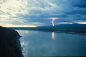Lightning strikes somewhere in the Ray Mountains north of the Yukon River.  Photo by Ned Rozell.