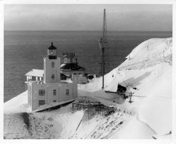Scotch Cap Lighthouse, on the southwest shore of Unimak Island, before the giant wave of April 1, 1946. NOAA/NGDC, Coast Guard photos.